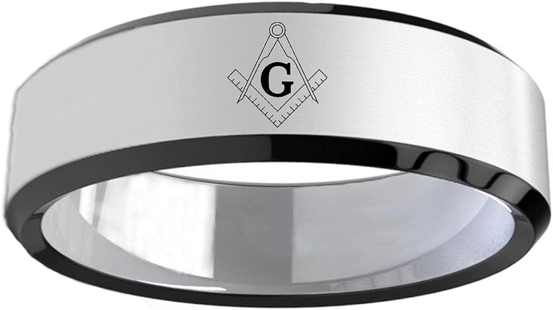 8Mm Titanium Charlotte Mall Masonic Ring unisex Freemasonry Mason Mens Rings For