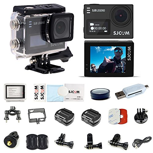 SJCAM SJ6 Legend Action Camera Sports DV 4K 24FPS WiFi 30M Waterproof Underwater Camera with 2.0 Inch Touch Screen Gyro Outdoor Sports Camera-Black