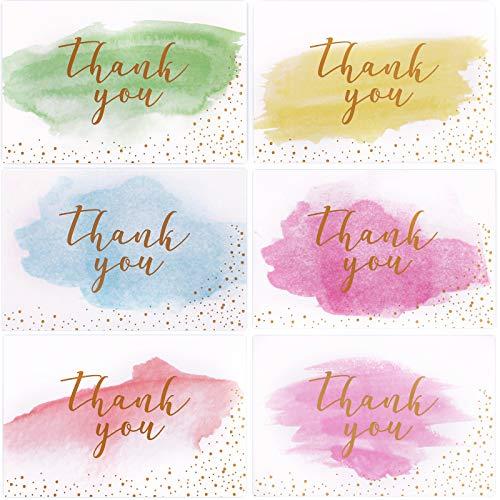 STRMZD 48 Blatt Umweltfreundlich Dankeskarten Und Umschlag, Gold und Aquarell Design danke Karte leer, verwendet für Baby Taufe, Hochzeit, Brautdusche, Jubiläum, Weihnachten, Business, 6 Design