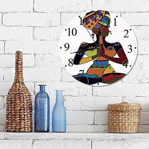 Silencioso Wall Clock Decoración de hogar de Reloj de Redondo,Yoga, Figura de Mujer en Traje de Estilo étnico Oración Cultura Iluminación Gracia Decorati,para Hogar, Sala de Estar, el Aula