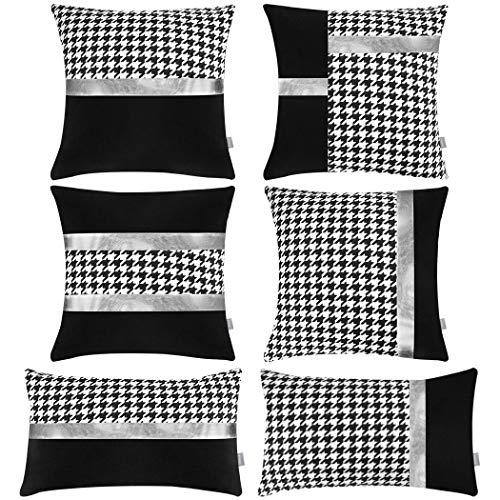 Juego de 6 fundas de almohada de poliéster, costuras modernas, cómodas fundas de cojín decorativas para el sofá del hogar (solo funda, sin relleno) (pata de gallo negro, 45 x 45 cm + 12 x 20 pulgadas)
