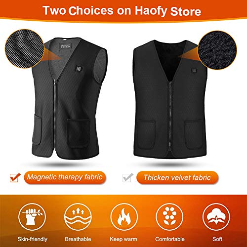 Haofy Electric Heated Vest Heated Jacket for Men Women, Washable USB Heated Clothes Vest, Heating Body Warmer Gilet with 3 Optional Temperature for Outdoor Skiing, Hiking, Hunting, Motorcycle, Camping