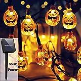 WILLOR Halloween Pumpkin String Lights Solar Powered 21ft 30 LED Pumpkin String Lights 8 Light Modes IP65 Waterproof Exterior Halloween Decorations Lights for Halloween Patio Garden Yard, Warm White