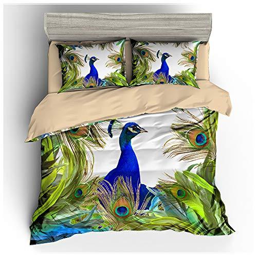 HOXMOMA Children 3D Animal Theme Bedding Sets, Peacock Pattern Printed Duvet Cover and 2 Pillow Shams, All-Season Microfiber Quilt Covers for Kids Boys Girls,Green,EU Double