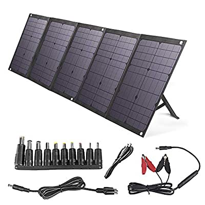 BigBlue 100W Foldable Solar Panel Charger Compatible with Portable Power Station, Cellphone or Battery Pack, Fast Charging, with PD 60W Type C, Dual USB Ports and DC Output