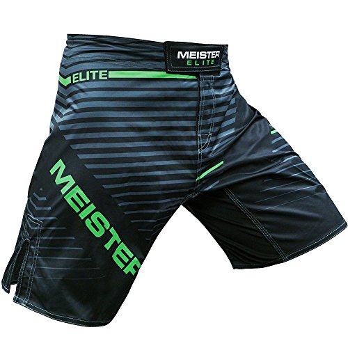 Meister Elite Flex Fighter Board Shorts for MMA Training and Gym Workouts - Livewire Green - Large (34-35)
