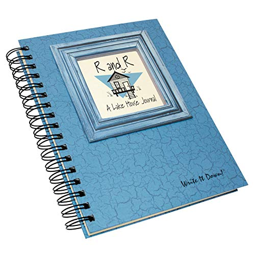 "Journals Unlimited ""Write it Down!"" Series Guided Journal, R and R, A Lake House Journal, with a Blue Hard Cover, Made of Recycled Materials, 7.5""x 9"""