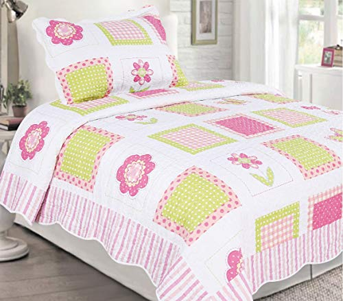 Sapphire Home 2pc Twin Size Bedspread Quilt Set Bedding for Kids Teens Girls, Patchwork Flowers Pink White Green Coverlet, Twin Bedspread + Pillow Sham, Twin CJ21 Pink Patchwork Flower