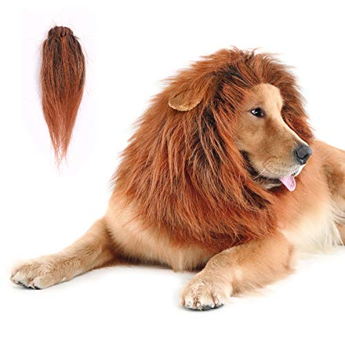 CPPSLEE Lion Mane for Dog Clothes, Realistic Lion Wig for Medium to Large Sized Dogs, Dog Christmas Gifts with Tail(Dark Brown)