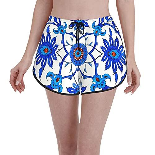 Inaayayi Junta Pantalones Cortos Art Nouveau Azulejo chino cobalto azul y blanco porcelana mujeres trajes de baño casual trajes de baño verano secado rápido cordón deportes pantalones cortos