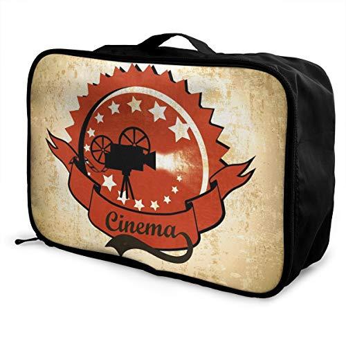 レトロなビンテージ映画プロジェクター 映画ノスタルジア キャリーオンバッグ 旅行バッグ 大容量 トラベルバッグ レディース メンズ兼用 旅行バッグ 軽量 収納バッグ 旅行用品 機内持ち込み 37×15×27cm