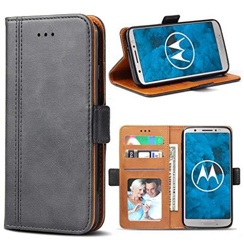 Bozon Motorola Moto G6 Hülle, Leder Tasche Handyhülle für Motorola Moto G6 Flip Wallet Schutzhülle mit Ständer & Kartenfächer/Magnetverschluss (Dunkel-Grau)