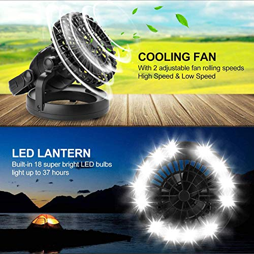 51cirErLfYL - Odoland Portable LED Camping Lantern with Ceiling Fan - Hurricane Emergency Survival Kit