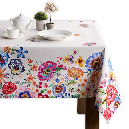 Maison d' Hermine Happy Florals - Tovaglia da cucina in 100% cotone, ideale per pranzi da tavolo, decorazione per feste, matrimoni, primavera, estate, rettangolo, 140 x 180 cm