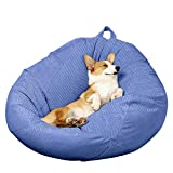 Bean Bag Chair Cover (No Filler) Large Opening Zipper Design for Organizing Children Plush Toys or Memory Foam-Support Detachable Extension, Premium Ultra Soft Micro Fiber Fabric,Extra Large
