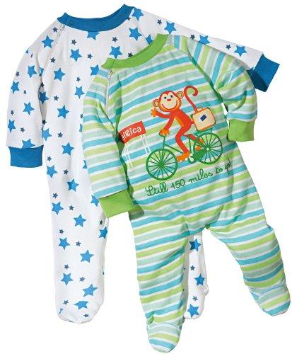 Baby Butt Schlafanzug 2er-Pack mit Druckmotiv AFFE und Sterne Interlock-Jersey Weiss Größe 62/68