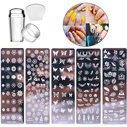 5 Pcs Nail Stamp Template Kit with 1 Stamper 1 Scraper Nail Stamping Plates for Nail Art Flower Leaf Butterflies Snowflake Nail Art Templates Nail Stamper Stencil Plates Set Manicure Nail Supplies