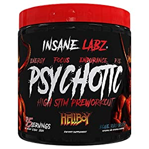 Insane Labz Hellboy Edition, High Stimulant Pre Workout Powder NO Booster with Beta Alanine, L Citrulline, and Caffeine, Boosts Focus, Energy, Endurance, Nitric Oxide Levels, 35 Srvgs,Blue Raspberry