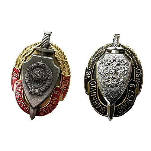 QLTY Medalla soviética Medalla Rusa,Medalla de Recuerdo Insignia de Medalla Militar,Insignia de la KGB del Ministerio del Interior de la URSS,Insignia de Broche de Metal,Réplica,Regalo