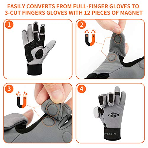 Palmyth Flexible Fishing Gloves Warm for Men and Women Cold Weather Insulated Water Repellent Great for Ice Fishing Fly Fishing Photography Motorcycling Running Shooting Cycling (Black/Grey, Small)