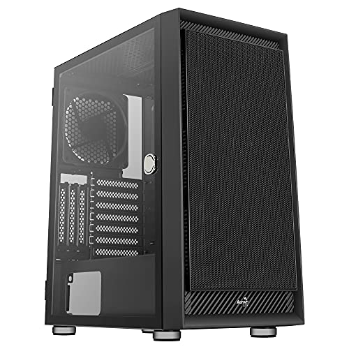 Aerocool GRAPHITEV1, Caja PC ATX, Cristal Templado, Panel Frontal Mesh, Negro