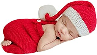 Fashion Newborn Boy Girl Baby Costume Outfits Photography Props Christmas Hat Rompers Clothes Red
