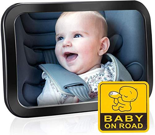 Baby bilspegel för baksätet, OMORC (uppgraderad version) backspegel för bilsäte – säkraste okrossbara babyspegel för att se bakåtvända spädbarn, barn och barn