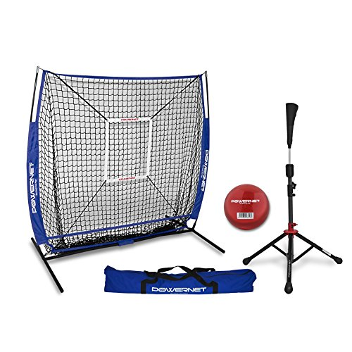 PowerNet 5x5 Practice Net + Deluxe Tee + Strike Zone + Weighted Training Ball Bundle (Royal Blue)   Baseball Softball Pitching Batting Coaching Pack   Work on Pitch Accuracy   Build Plate Confidence