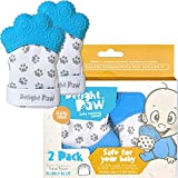 Delight Paw Baby Teething Mitten Mom Designed | Self Soothing Pain Relief | Hygienic Travel Bag | No BPA | Like Munch Mitt | Baby Boy Baby Girl | Babies 0-12 Months | Bubbly Blue | 2 Pack