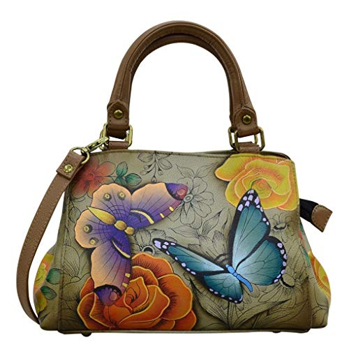 Anna by Anuschka Small Multicompartment Satchel, Floral paradise Tan
