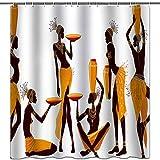 hipaopao Cortinas de ducha africanas para mujer afro con temática de niña negra y tela de tela, para decoración de baño con ganchos, impermeable, lavable, 182,88 x 182,88 cm, color amarillo y marrón