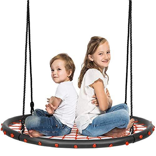 YQZ Asiento de Columpio para niños, Juego de Columpios de árbol Web de 40 '', Columpio de Red con Plataforma de Columpio de Red Redonda para niños al Aire Libre con Cuerdas Colgantes Ajustables,Rojo