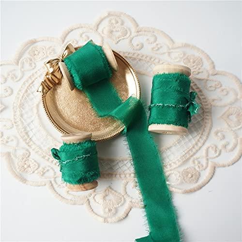 DINGM 5mts / Roll Cinta de Seda Pura Estilo con Bordes deshilachados para Embalaje de Boda Cinta de Seda Pura