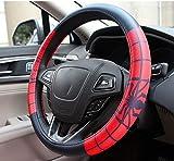 Cartoon Couvre volant Spider-man Iron Man Batman Superman voiture de volant Covers Auto Accessoires intérieurs Styling (Color Name : Red black Spiderman)