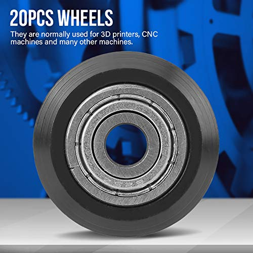 20pcs V-shape Groove Wheel 5mm Bore 625 Bearing Pulley Accessori per stampante 3D CNC Resistente e robusto