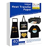 Iron-On Heat Transfer Paper for Dark Fabric, 40 Pack 8.3x11.7' T-Shirt Transfer Paper for Any Inkjet Printer, Long Lasting Printing Transfer Paper for Heat Press, No Cracking