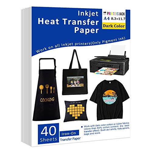 "Iron-On Heat Transfer Paper for Dark Fabric, 40 Pack 8.3x11.7"" T-Shirt Transfer Paper for Any Inkjet Printer, Long Lasting Printing Transfer Paper for Heat Press, No Cracking"