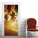 3D Mural para Puerta 77X200Cm Autoadhesivo Impermeable Papel Pintado Puerta para Sala de Estar Baño Cocina Extraíble Vinilo Adhesivo de Pared,Decoración del Hogar - Cocoteros al Atardecer
