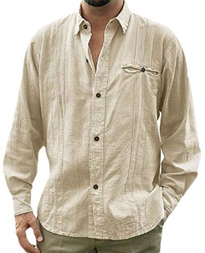 dahuo Herren Hemd Kubanischer Leinen Langarm Button-Down-Shirts Kragen Tees Strand Tops Gr. S, Khaki
