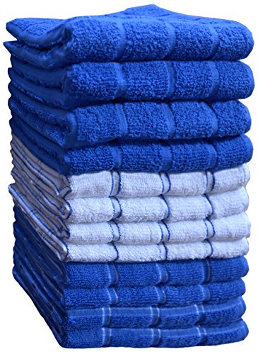 HomeLabels Kitchen Towels (12 Pack, 15' x 25') Cotton, Machine Washable Extra Soft Set of 12, 3 Designs Dobby Weave Kitchen Dish Cloths, Tea Towels, Bar Towels, Blue-Dishcloth