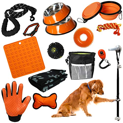Setonware Puppy Starter Kit - 16pc Puppy Supplies & Dog Essentials. Matching New Puppy Accessories Lots of New Puppy Stuff. Toys, Dog Bed Blanket, Lick Mat, & More. Kit for Small Dogs & Large Puppies