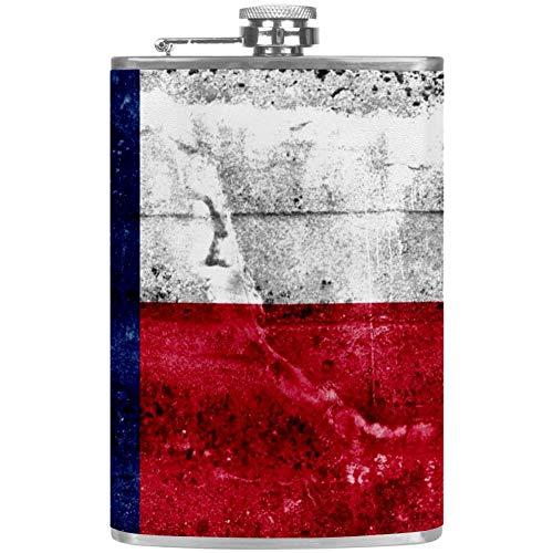 Bennigiry Herren Flachmann Texas Western Star Edelstahl Weintopf Leder Tasche Trinkflasche für die Aufbewahrung von Whiskey Alkohol Likor (2oz)