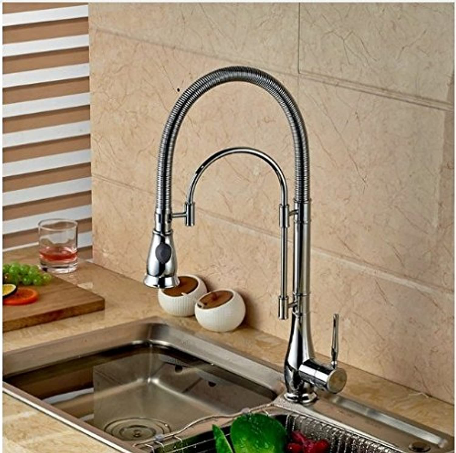 Gowe? Deck Mounted Brass Chrome Polish Kitchen Faucet Pull Down Spout Tall One Hole Mixer Faucet