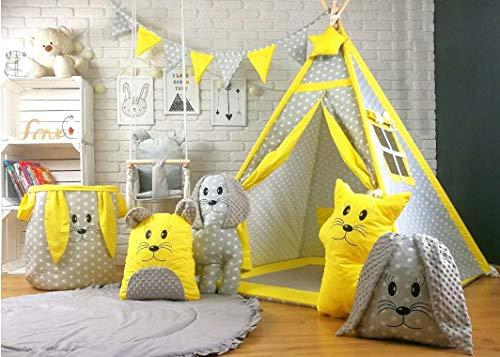 Bambi® Tenda indiana teepee in tessuto per cameretta bambini con tappetino e 4 simpatici cuscini. Tipi 4 Animali. Giallo.