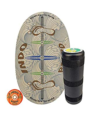 """INDO BOARD Original - Barefoot Design - Balance Board for Fun, Fitness and Sports Training - Comes with 30"""" X 18"""" Non-Slip Deck and a 6.5"""" Roller"""