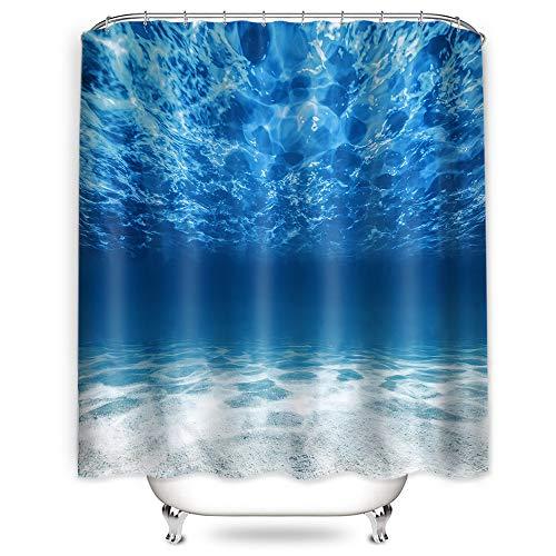 Hoomall Duschvorhang 180x180cm Anti-schimmel Badezimmer Deko wasserdichte Waschbar Shower Curtain mit 12 Ringe 3D Grün Pflanzen/Halloween (Weiss) (blau)
