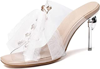 Pvc Transparent High Heel Sandals (Color : Apricot, Size : 45)