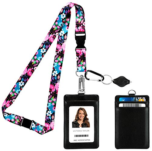 Wild Flowers Blossom Print Lanyard with PU Leather ID Badge Holder with 3 Card Pockets, Safety Breakaway Clip, Note Card. Gift of Carabiner Keychain Flashlight. Lanyard for Cruise or Work.