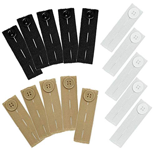 15 Pack Elastic Pants Waist Extender, Adjustable Pant Button Extenders (3 Colors)