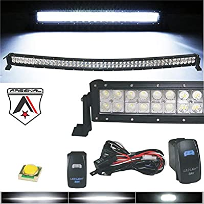 42 inch LED Curved Light Bar 240w CREE LEDs by Arsenal Offroad Spot Flood combo beam Great for Offroad Trucks 4x4 radius fog JEEP UTV SUV 4x4 Polaris Razor 1000 Raptor RZR Can Am X3 FREE HARNESS